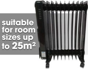 Futura 2.5KW Black Oil Filled Radiator Heater