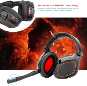 HUHD Fiber-Optical Wireless 2.4Ghz Stereo Gaming Headset